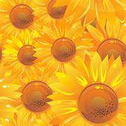 seamless pattern with yellow bright sunflowers - stock illustration