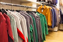 men clothing in fashion store - stock photo