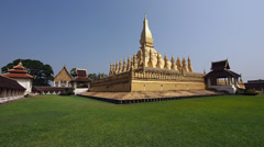 Pha That Luang Stupa in Vientiane, Laos Stock Footage