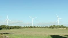 Windmill turbines field. Clean wind energy. - stock footage