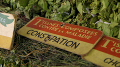 Herbs being sold Stock Footage