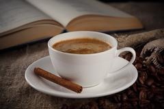 a cup of coffee with cinnamon - stock photo