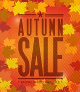 autumn sale colorful natural leaves - stock illustration