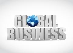 global business 3d text illustration design - stock illustration