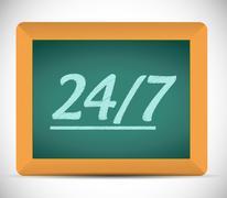 24 7 message on a chalkboard illustration - stock illustration