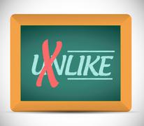 unlike to like message on a chalkboard - stock illustration