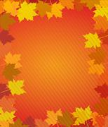 autumn leaves thanksgiving boarder - stock illustration