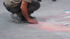 Street Artist in Siena Italy (4 of 6) Stock Footage