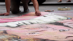 Street Artist in Siena Italy (2 of 6) - stock footage