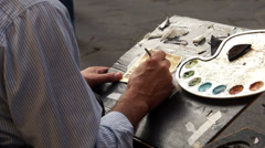 Artist Painting in Florence (1 of 5) Stock Footage