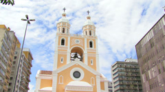 Low angle shot of Catedral Metropolitana, Florianopolis, Santa Catarina, Brazil Stock Footage