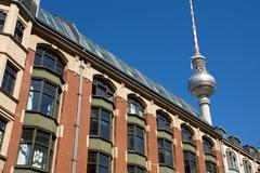 Old building with television tower Stock Photos