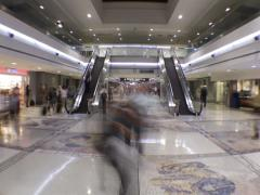 Time Lapse People Traveling by Airport Escalators Stock Footage