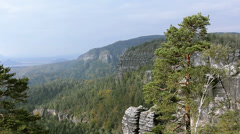 Panorama of Rocks in the Czech Switzerland. Stock Footage