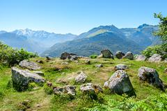 Prehistoric cromlech in the french pyrenees Stock Photos