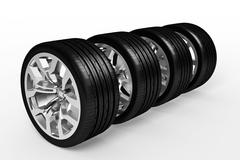 Set of car wheels isolated over white - stock illustration