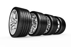 Set of car wheels isolated over white Stock Illustration