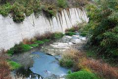almost dry bed of the river - stock photo
