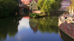 Tilt of a canal in Nuremberg Stock Footage
