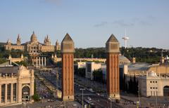 Espanja neliön surrondings Barcelonassa Kuvituskuvat