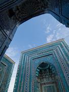 Blue tiled facades of shahi-zinda necropolis, samarkand, uzbekis Stock Photos