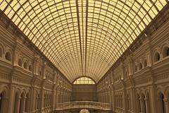 Glass dome of gum shopping center Stock Photos