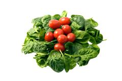baby spinach and cherry tomatoes - stock photo