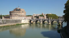 View of the Pont Sant'Angelo Bridge in Rome (2 of 2) - stock footage