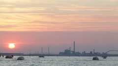Industrial sea sunset - stock footage
