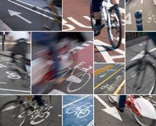 Urban bike lanes Stock Photos
