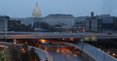 Ultra HD 4K ilmakuva Freeway US Capitol Washington DC, Crowded ruuhkaan Arkistovideo