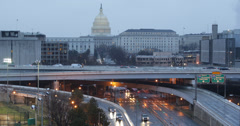 Ultra HD 4K Aerial View Traffic US Capitol Street Washington DC Freeway Highway Stock Footage