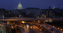 Ultra HD 4K Illuminated by night, Cars Traffic Southeast Freeway Washington DC - stock footage