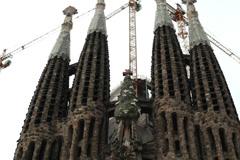 Tilt shot of Spain cathedral Sagrada Familia at Barcelona NTSC Stock Footage