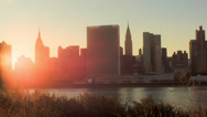Stock Video Footage of NYC Skyline Sunset Time Lapse