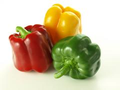 tricolor bell peppers - stock photo