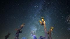 4K Draconids Meteor Shower 04 Dolly R Joshua Tree Milky Way Timelapse Stock Footage
