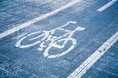 blue bike lane - stock photo