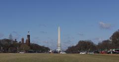 Ultra HD 4K Washington DC Skyline Monument National Mall, Sunny Day USA Memorial Stock Footage