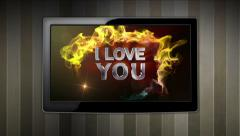 I LOVE YOU Text in Monitor Open with Play Click Stock Footage
