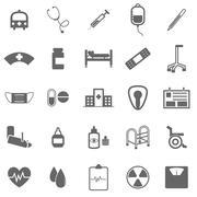hospital icons on white background - stock illustration