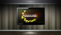 KARAOKE Text in Monitor Open with Play Click Stock Footage