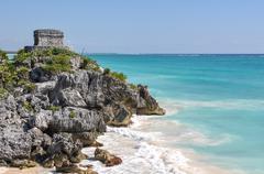 Mayan ruins in tulum mexico Stock Photos