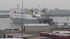 Ferry - Zeebrugge Docks Stock Footage