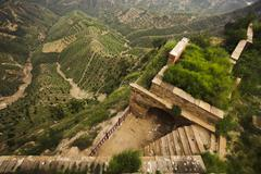Built structure in the mountains on the side of a hill,  Shanxi Province, China Stock Photos