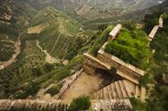 Stock Photo of Built structure in the mountains on the side of a hill,  Shanxi Province, China