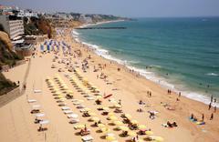 beach at albufeira in algarve, portugal - stock photo