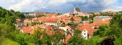 cesky krumlov / krumau panorama, unesco world heritage site - stock photo