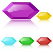Vector glossy faceted gemstones Stock Illustration