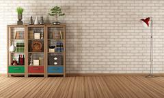 vintage bookcase in a empty room - stock illustration